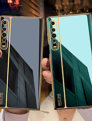 cheap -Phone Case For Huawei Back Cover HUAWEI Mate xs Shockproof Plating Solid Color Tempered Glass Metal