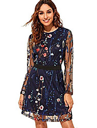 cheap -women's round neck floral embroidered mesh long sleeve dress navy large