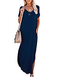 cheap -Women's T Shirt Dress Tee Dress Maxi long Dress Wine Red ArmyGreen Color blue White Black Light Gray Dark Gray Navy Blue Short Sleeve Solid Color Split Spring Summer Casual 2021 S M L XL 2XL 3XL 4XL