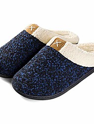 cheap -women's cozy memory foam slippers fuzzy wool-like plush fleece lined house shoes w/indoor, outdoor anti-skid rubber sole (9-10, royal blue)