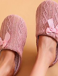 cheap -Women's Slippers & Flip-Flops Fuzzy Slippers Indoor Slippers Flat Heel Round Toe Casual Daily Home Knit Bowknot Solid Colored Pink