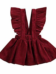 cheap -kids girls fly sleeve strap dress corduroy tutu skirt clothes cute outfits (wine red, 90(2-3 years))