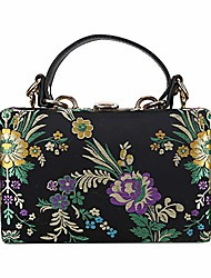 cheap -embroidered flowers crossbody bags for women party clutch purse chain tote shoulder evening bag (black)