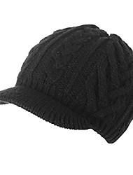 cheap -100% wool newsboy cap winter hat visor beret knitted soft warm hood cozy cabbie beani cap black