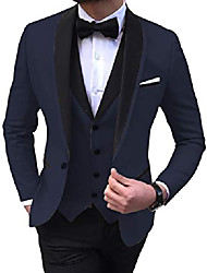 cheap -men's 3 pieces slim fit shawl lapel solid prom tuxedos wedding grooms (blazer+vest+pants) customize navy