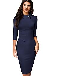 cheap -Women's Sheath Dress Knee Length Dress 3/4 Length Sleeve Solid Color Patchwork Fall Elegant Cotton 2021 Navy Blue Light Blue S M L XL XXL