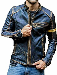 cheap -men's motorcycle jacket leather stand collar vintage coat casual overcoat punk biker racer outwear,blue,m