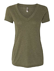 cheap -apparel 6740 lady tri-blend deep v neck t-shirt - military green44; 2xl