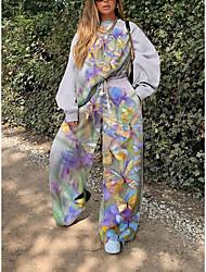 cheap -Women's Print Two Piece Set Sweatshirt Pant Loungewear Print Drawstring Tops / Loose