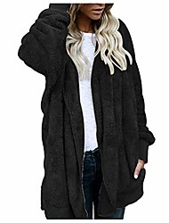 cheap -women coat, whear fuzzy fleece hoodies cardigan open front plush parka faux fur outerwear jacket with pockets(black, s)