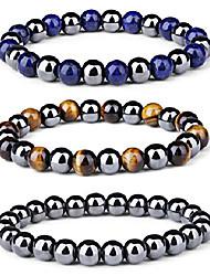 cheap -3pcs men women reiki healing bracelet energy natural tiger eye stone magnetic hematite therapy beads bracelet elastic rope