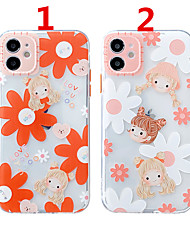 cheap -Case For Apple Scene Map iPhone 12 12 Pro 11 Pro Max Fine Hole Contrast Button Series Beauty Flower Pattern Thick TPU Material Mobile Phone Case OS