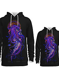 cheap -Daddy and Me Active Graphic 3D Print Animal Print Long Sleeve Regular Hoodie & Sweatshirt Purple