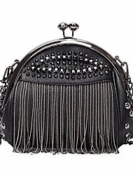 cheap -punk style crossbody bags for women rivet tassel evening clutch purse ladies black chains shoulder bag (black)