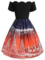 cheap -Women's A-Line Dress Knee Length Dress - Short Sleeve Print Patchwork Print Winter Elegant Vintage 2020 Black S M L XL XXL