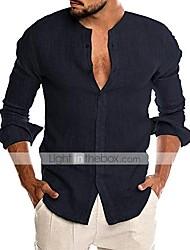 cheap -men's linen button down dress shirt long sleeve casual beach tops (off-white, xx-large)