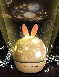 cheap -LED Projector Night Light Romantic Music Charging Rotating Projection Lamp w/Rabbit Ear for Home Party Decor Baby Sleep Lighting