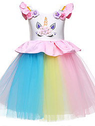 cheap -Princess Dress Party Costume Flower Girl Dress Girls' Movie Cosplay Princess White / Pink / Ivory Dress Children's Day Masquerade Polyester