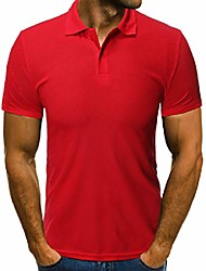 cheap -slim fit summer t-shirt solid color short sleeve polo shirt red us m