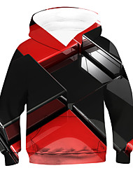 cheap -Kids Boys' Hoodie & Sweatshirt Long Sleeve Geometric 3D Drawstring Red Children Tops Active Basic Children's Day