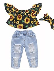 cheap -toddler girls summer outfit short sleeve flower ruffle top ripped jeans pant set casual photography coming home clothes 3t age 2-3 years