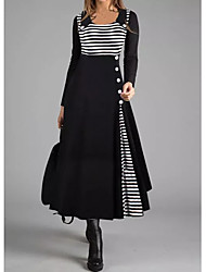 cheap -Women's Shift Dress Maxi long Dress - Long Sleeve Striped Button Fall Winter Casual 2021 Black M L XL XXL 3XL