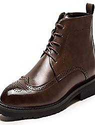 cheap -mens casual perforated vegan leather high-top red wing tip brogue western derby dress boots brown 10