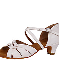 cheap -Women's Latin Shoes Salsa Shoes Heel Buckle Thick Heel White Red Bronze Buckle / Performance / Practice