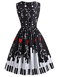 cheap -Women's A-Line Dress Knee Length Dress - Sleeveless Print Print Fall Vintage Christmas 2020 Black S M L XL XXL