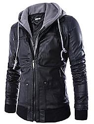 cheap -men's double zipper pu faux leather jacket with hood for motor biker large black
