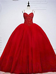 cheap -Ball Gown Elegant Beautiful Back Engagement Formal Evening Dress Sweetheart Neckline Sleeveless Sweep / Brush Train Tulle with Beading Tier 2020