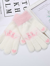 cheap -2pcs Kids Girls' Active Cat Animal Full Finger Knitwear Gloves White / Red / Blushing Pink One-Size