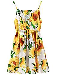 cheap -girl's floral dress spaghetti strap sleveeless sundress hawaiian, white (sunflower), size 9-10 years/tag 150