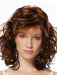 cheap -Synthetic Wig Curly With Bangs Wig Medium Length Light Brown Dark Brown Synthetic Hair Women's Fashionable Design Exquisite Dark Brown Light Brown