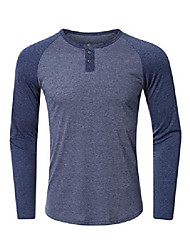 cheap -mens casual long sleeve t-shirts slim fit bodybuilding muscle fitness raglan shirt tee & #40;az henley navyblue, small& #41;