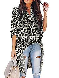 cheap -womens leopard print irregular high low tunic tops blouse batwing sleeve shirt 3grey 2xl