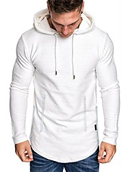 cheap -men's fashion workout hoodie muscle fit  blend gym sweatshirts solid color athletic pullover white