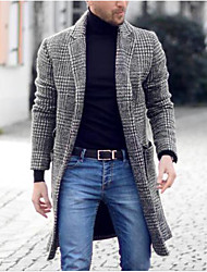 cheap -Men's Unisex Trench Coat Overcoat Holiday Daily Wear Fall Winter Long Coat Open Front Cardigan Notch lapel collar Regular Fit Neutral Fashion Jacket Long Sleeve Houndstooth Stylish lattice