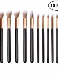 cheap -10pcs wooden handle soft nylon bristles makeup brush cosmetics powder blush brush kit for woman (t-10-130)