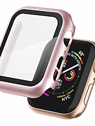 cheap -case compatible with apple watch bumper 40mm/44mm with tempered glass screen protector high sensitive touching built-in protective case cover for apple watch series 5/4/3/2/1(rose-pink,38mm)