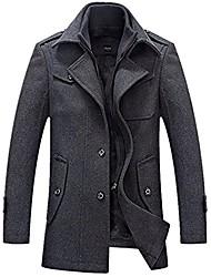cheap -men's winter thicken warm stand collar wool coat s grey