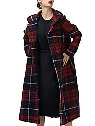 cheap -af5 women fashion long maxi hooded jacket plaid wool blend outwear coat slit back/pockets