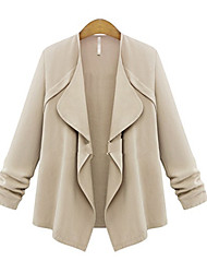 cheap -Women's Solid Colored Basic Fall Trench Coat Regular Daily 3/4 Length Sleeve Cotton Coat Tops Blushing Pink