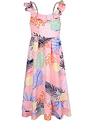 cheap -girls maxi dress casual sleeveless empire waist with adjustable straps size 10-12 pink