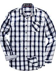 cheap -men's long sleeve button down plaid shirts slim-fit 100% cotton by fredd marshall