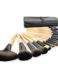 cheap -24 pcs professional wooden handle makeup brush tool cosmetic makeup make up brushes set with black pouch bag (wood)