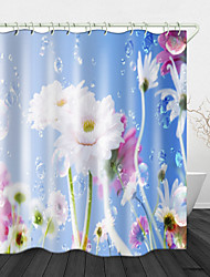 cheap -Water Drop Flowers Digital Printing Shower Curtain Shower Curtains  Hooks Modern Polyester New Design