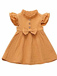 cheap -toddler baby summer dress girl fly sleeve button cotton dress with bowknot casual skirt 1-6 years (yellow, 4-5 t)