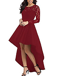cheap -womens vintage lace high low satin prom evening long formal dress cocktail party gowns burgundy large