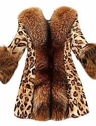 cheap -jmetrie women's faux fur collar classic leopard medium long coat jacket yellow